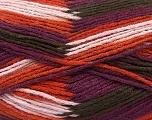 Fiber Content 80% Acrylic, 20% Wool, Purple, Orange, Light Pink, Brand ICE, Brown, Yarn Thickness 3 Light  DK, Light, Worsted, fnt2-41277