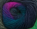 Composition 70% Dralon, 30% Laine, Brand Ice Yarns, Green, Fuchsia, Blue, Yarn Thickness 4 Medium  Worsted, Afghan, Aran, fnt2-42765