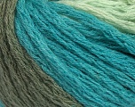 Composition 70% Acrylique, 20% Laine, 10% Mohair, Turquoise, Mint Green, Khaki, Brand Ice Yarns, Yarn Thickness 6 SuperBulky  Bulky, Roving, fnt2-43552