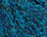 Composition 5% Métallique Lurex, 45% Laine, 40% Acrylique, 10% Polyamide, Turquoise, Brand Ice Yarns, Blue, fnt2-44079