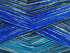 Composition 75% Superwash Wool, 25% Polyamide, Turquoise, Brand Ice Yarns, Grey, Blue, fnt2-51852