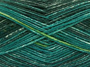 Composition 75% Superwash Wool, 25% Polyamide, Brand Ice Yarns, Green Shades, fnt2-54878
