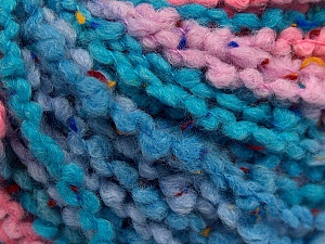 Fiber Content 65% Acrylic, 25% Wool, 10% Viscose, Turquoise Shades, Pink, Lilac, Brand ICE, fnt2-57229