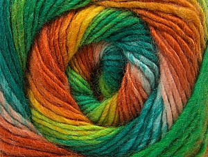 Composition 70% Acrylique, 30% Laine, Orange, Brand ICE, Green Shades, Gold, Yarn Thickness 3 Light  DK, Light, Worsted, fnt2-58148