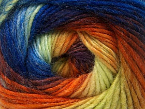 Composition 70% Acrylique, 30% Laine, Yellow, Orange, Maroon, Brand ICE, Blue Shades, Yarn Thickness 3 Light  DK, Light, Worsted, fnt2-58149
