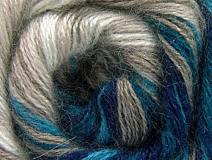 Composition 50% Mohair, 50% Acrylique, White, Turquoise, Navy, Brand ICE, Beige, fnt2-58360