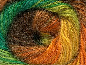 Composition 50% Mohair, 50% Acrylique, Yellow, Orange, Brand ICE, Green Shades, Brown, fnt2-58365