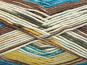 Composition 50% Acrylique haut de gamme, 50% Coton, Yellow, Turquoise, Brand ICE, Cream, Brown, Yarn Thickness 2 Fine  Sport, Baby, fnt2-58415