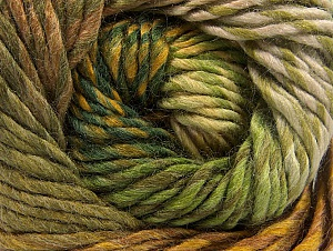 Composition 70% Laine, 30% Acrylique, Brand ICE, Green Shades, Gold, Brown, Yarn Thickness 5 Bulky  Chunky, Craft, Rug, fnt2-58440