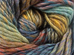 Composition 70% Laine, 30% Acrylique, Khaki, Brand ICE, Brown, Blue Shades, Yarn Thickness 5 Bulky  Chunky, Craft, Rug, fnt2-58443