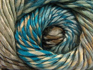 Composition 70% Laine, 30% Acrylique, Turquoise, Brand ICE, Grey, Brown Shades, Yarn Thickness 5 Bulky  Chunky, Craft, Rug, fnt2-58445