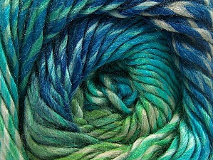 Composition 70% Laine, 30% Acrylique, Turquoise Shades, Brand ICE, Green, Blue, Yarn Thickness 5 Bulky  Chunky, Craft, Rug, fnt2-58446