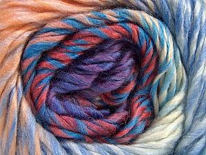 Composition 70% Laine, 30% Acrylique, Salmon Shades, Lilac, Brand ICE, Blue, Yarn Thickness 5 Bulky  Chunky, Craft, Rug, fnt2-58447