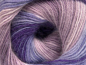 Composition 60% Acrylique, 20% Angora, 20% Laine, Purple, Lilac Shades, Brand ICE, fnt2-59754