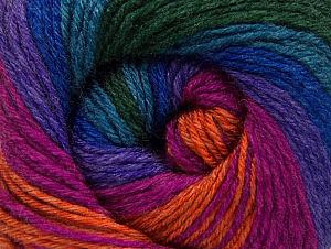 Composition 70% Acrylique, 30% Laine mérinos, Turquoise, Purple, Orange, Brand ICE, Green, Fuchsia, fnt2-59779