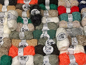 Fancy Yarns This mixed lot includes a total of 2000 gr (70.5 oz.) yarn. There is no standard for fiber content and weight. Also disregard any information on the labels. You will get what you see in the photo. Brand ICE, fnt2-59886