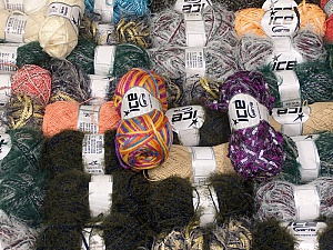 Fancy Yarns This mixed lot includes a total of 2000 gr (70.5 oz.) yarn. There is no standard for fiber content and weight. Also disregard any information on the labels. You will get what you see in the photo. Brand ICE, fnt2-59892