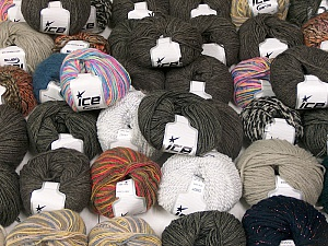 Winter Yarns This mixed lot includes a total of 2000 gr (70.5 oz.) yarn. There is no standard for ball weight. Also disregard any information on the labels. You will get what you see in the photo. Brand ICE, fnt2-59911