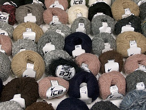 Winter Yarns This mixed lot includes a total of 2000 gr (70.5 oz.) yarn. There is no standard for ball weight. Also disregard any information on the labels. You will get what you see in the photo. Brand ICE, fnt2-59922