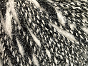 Composition 40% Acrylique, 35% Laine, 25% Alpaga, White, Brand ICE, Black, Yarn Thickness 3 Light  DK, Light, Worsted, fnt2-60072