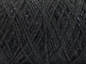 Composition 90% Coton, 10% Métallique Lurex, Brand ICE, Black, Yarn Thickness 4 Medium  Worsted, Afghan, Aran, fnt2-60132