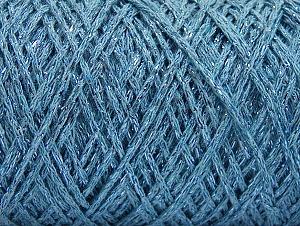 Composition 90% Coton, 10% Métallique Lurex, Light Blue, Brand ICE, Yarn Thickness 4 Medium  Worsted, Afghan, Aran, fnt2-60137