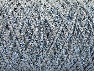 Composition 90% Coton, 10% Métallique Lurex, Light Grey, Brand ICE, Blue, Yarn Thickness 4 Medium  Worsted, Afghan, Aran, fnt2-60138