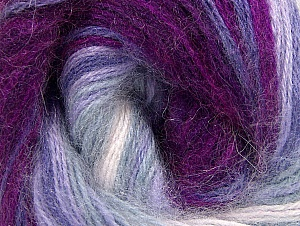 Composition 60% Acrylique haut de gamme, 20% Laine, 20% Angora, White, Purple, Lilac Shades, Brand ICE, Fuchsia, Yarn Thickness 2 Fine  Sport, Baby, fnt2-60236