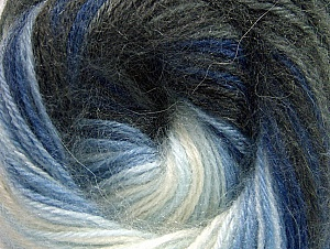 Composition 60% Acrylique haut de gamme, 20% Laine, 20% Angora, White, Brand ICE, Grey Shades, Blue Shades, Yarn Thickness 2 Fine  Sport, Baby, fnt2-60237