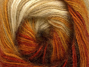 Composition 60% Acrylique haut de gamme, 20% Laine, 20% Angora, Orange, Brand ICE, Cream, Brown Shades, Yarn Thickness 2 Fine  Sport, Baby, fnt2-60240