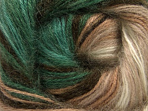 Composition 60% Acrylique haut de gamme, 20% Angora, 20% Laine, Brand ICE, Green, Cream, Brown Shades, Yarn Thickness 2 Fine  Sport, Baby, fnt2-60241