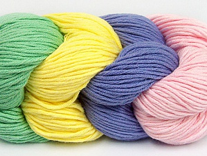 Composition 50% Coton, 50% Acrylique, Yellow, Pink, Mint Green, Lilac, Brand ICE, Yarn Thickness 3 Light  DK, Light, Worsted, fnt2-60262