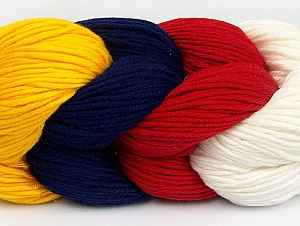 Composition 50% Acrylique, 50% Coton, Red, Navy, Brand ICE, Ecru, Dark Yellow, Yarn Thickness 3 Light  DK, Light, Worsted, fnt2-60265