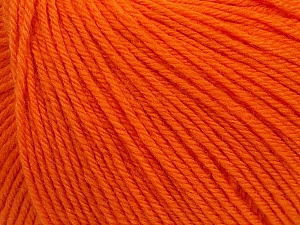 SUPERWASH WOOL is a DK weight 100% superwash wool yarn. Perfect stitch definition, and a soft-but-sturdy finished fabric. Projects knit and crocheted in SUPERWASH WOOL are machine washable! Lay flat to dry. Fiber Content 100% Superwash Wool, Orange, Brand ICE, Yarn Thickness 3 Light  DK, Light, Worsted, fnt2-42938