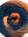 Composition 90% Acrylique, 10% Polyamide, Orange Shades, Navy, Brand ICE, Yarn Thickness 4 Medium  Worsted, Afghan, Aran, fnt2-58121